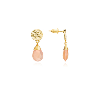 Classic Athena Drop Earrings: Peach Moonstone