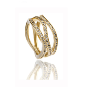 Ocean Wave Pave Ring Gold