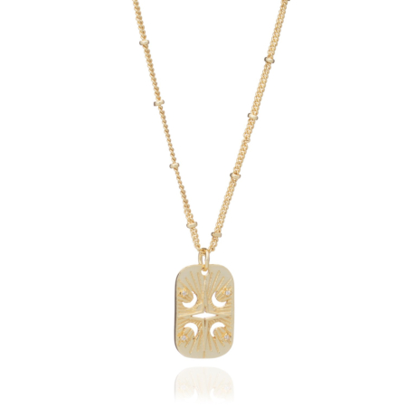 Short Astral Gold ID Tag Necklace