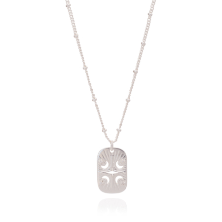Long Astral ID Tag Necklace: Silver & Cubic Zirconia