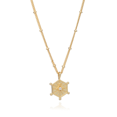 Astral Hexagonal Gold Pendant Necklace