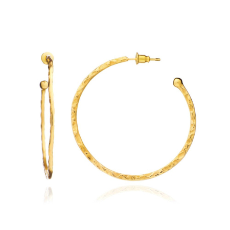 Lydia Large Textured Hoops: Gold