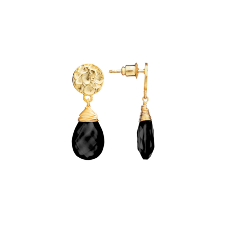Athena Large Drop Earrings: Gold with Black Onyx