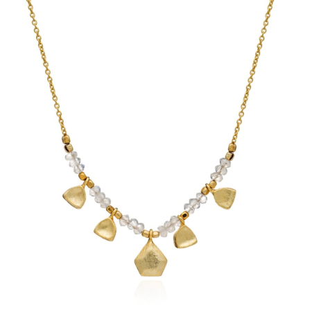 Athena necklace with stones, nuggets and brushed gold charm: Moonstone