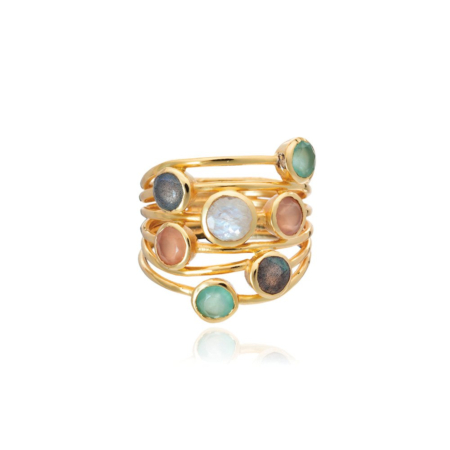Iona Entwined Ring: Peach Moonstone Mix