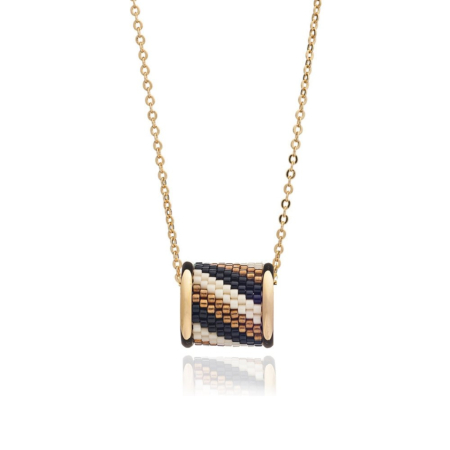 Totem Barrel Necklace in Lynx Stripe: Gold
