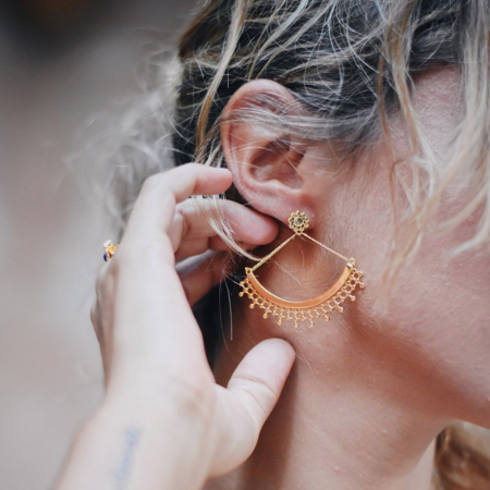 Etrusca Curved Earring with Chain