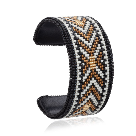 Kamia Wide Leather Artisan Beaded Cuff