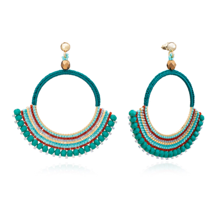Flamenco Crochet Delica Bead and Crystal Hoops