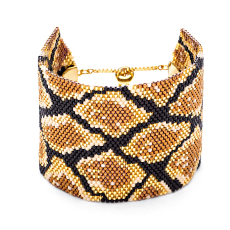 Python Wide Beaded Cuff