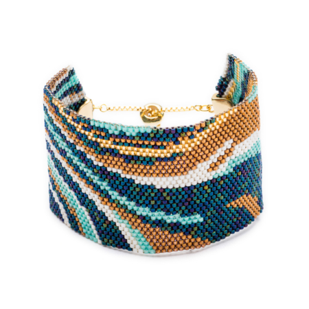 Surf Abstract Beaded Cuff
