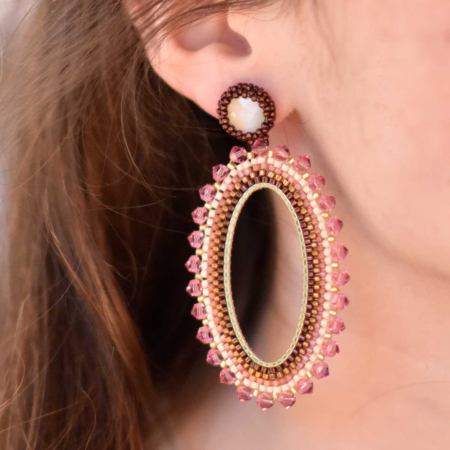 Large Satcha Cat's Eye and Crystal Trimmed Hoop Earrings