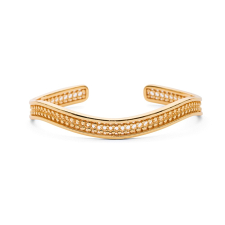 Etrusca Simple Wave Gold Bangle