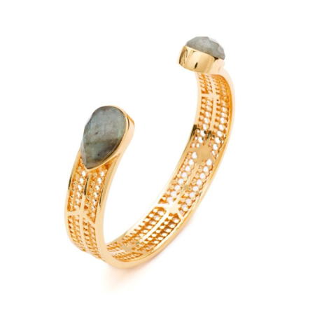 Etrusca Chevron Bangle with Pear-Shaped Stone in Labradorite