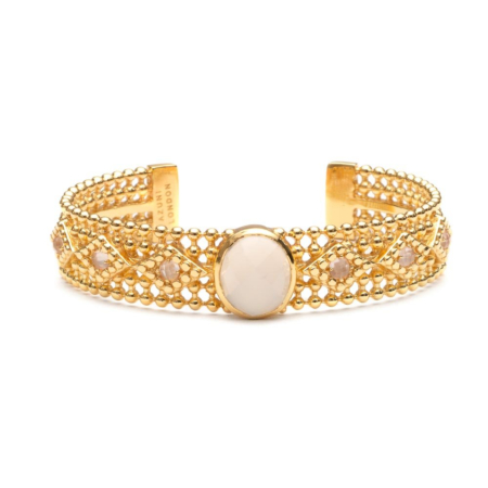 Etrusca Wide Bangle with Set White Chalcedony