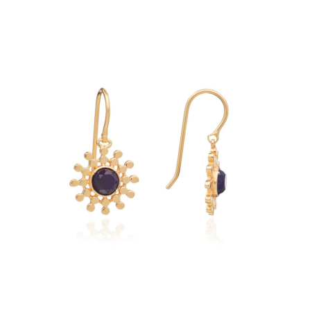 Etrusca Small Sun Drop Earrings with Black Onyx