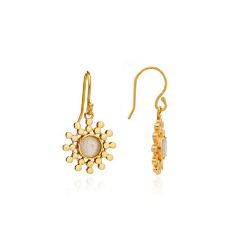 Etrusca Small Sun Drop Earrings with Moonstone