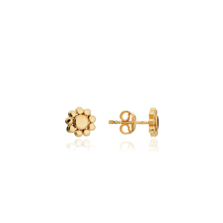 Etrusca Small Round Beaded Stud