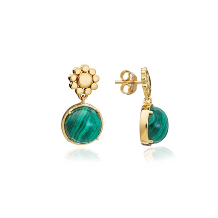 Etrusca Small Beaded Stud with Round Drop Malachite Stones