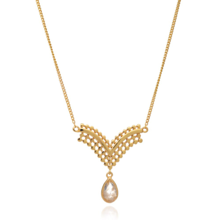 Etrusca V-Shaped Pendant Necklace with Moonstone Drop
