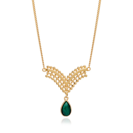 Etrusca V-Shaped Pendant Necklace with Malachite Drop