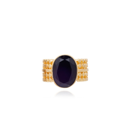 Etrusca Wide Ring with Oval Set Black Onyx Gemstone