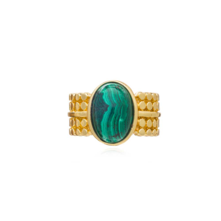 Etrusca Wide Ring with Oval Set Malachite Stone