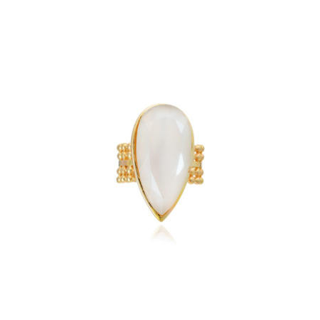 Etrusca Wide Ring with Teardrop Stone