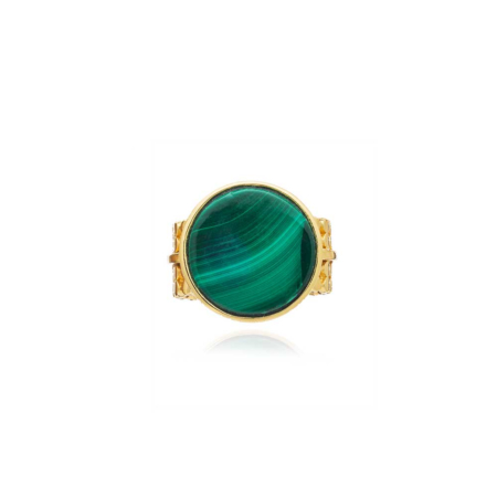 Malachite Disc Cocktail Ring