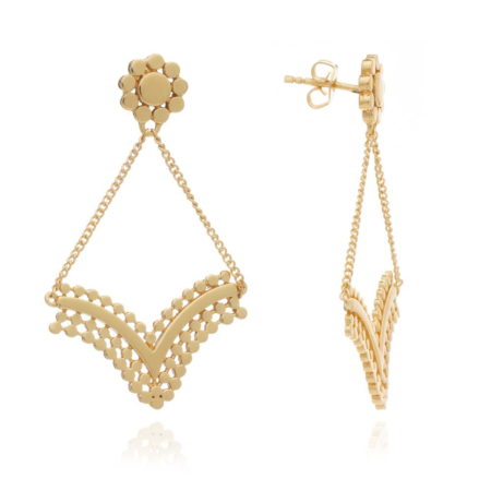 Etrusca Delicate V-Shaped Earrings with Chain