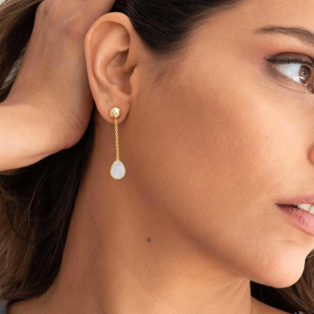 Gold Nugget Studs with Gemstone Drops