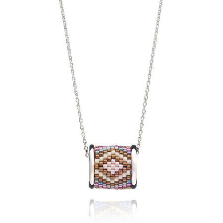 Totem Barrel Necklace in Sunset Aztec: Silver