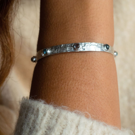 Selene Studded Bangle: Silver Iolite