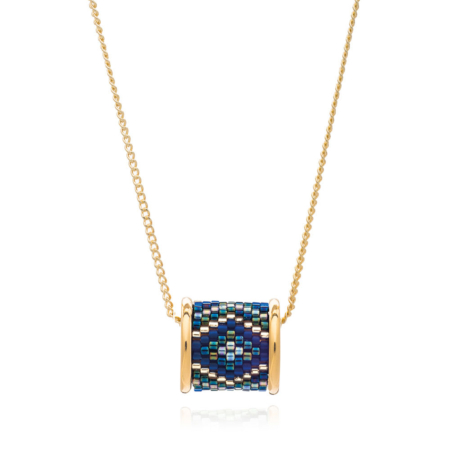 Totem Barrel Necklace in Midnight Aztec: Gold