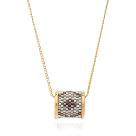 Totem Barrel Necklace in Mountain Aztec: Gold