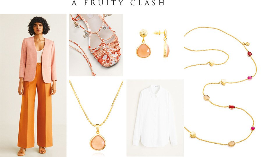 Peach moonstone styled with orange and peach clothing
