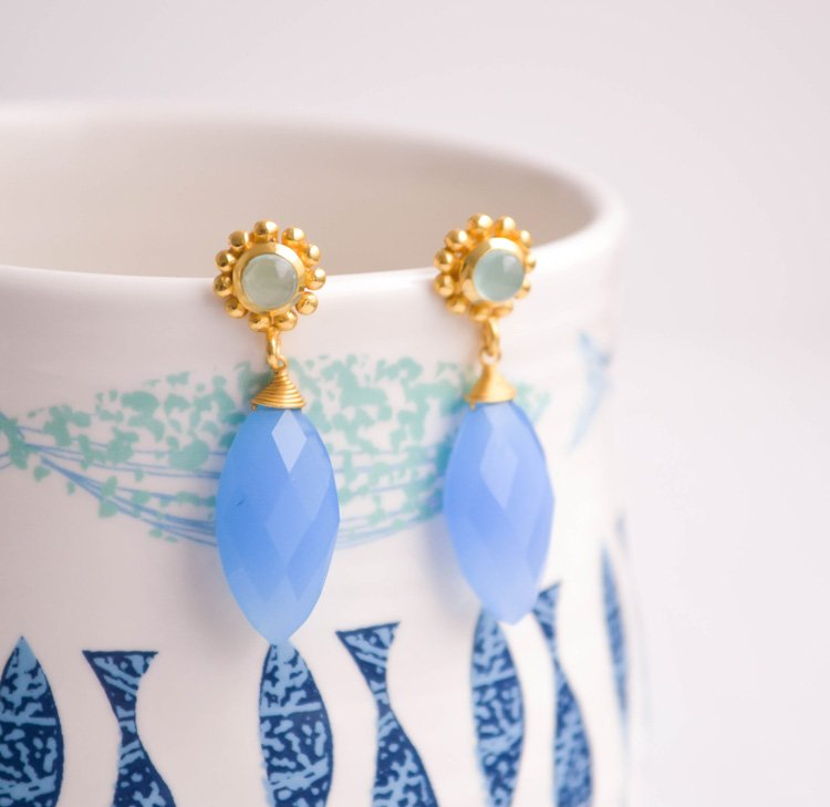 'Eclipse' Aqua Gold Gemstone Earrings | Discover Grecian ATHENA Jewellery