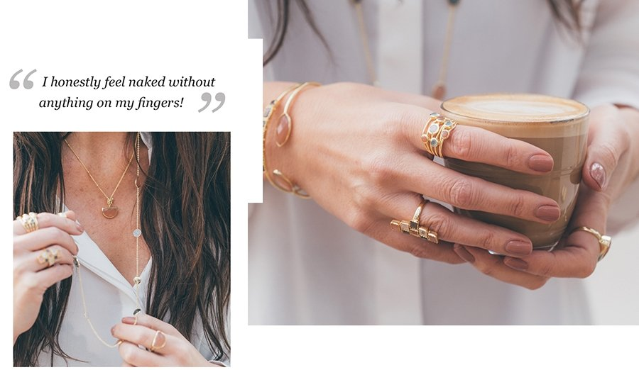 Rhiannon Duffin wearing Azuni Rings