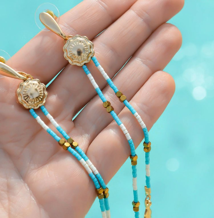 'Santa' Maria' Gold Turquoise Beaded Earrings | Discover Soulful SANTA FE